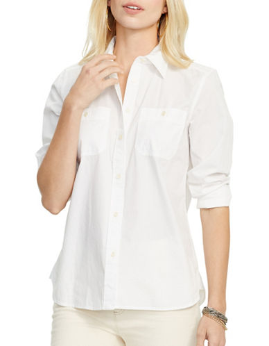 Lauren Ralph Lauren Long-Sleeve Cotton Shirt-WHITE-X-Large