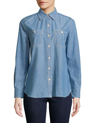 Lauren Ralph Lauren Long-Sleeve Denim Button-Down Shirt-BLUE-Small