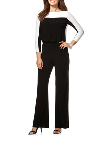 Chaps Colourblocked Jersey Jumpsuit-BLACK CREAM-8