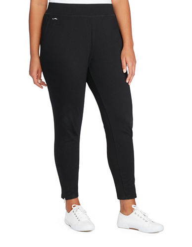 Lauren Ralph Lauren Plus Jersey Ankle Pants-BLACK-1X 88390305_BLACK_1X