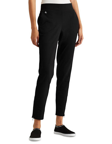 Lauren Ralph Lauren Jersey Ankle Pants-BLACK-Small