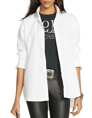 Polo Ralph Lauren Hi-Lo Hem Poplin Shirt-WHITE-14