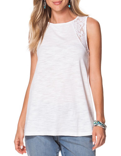 Chaps Lace-Trimmed Jersey Tank-WHITE-Medium 88417706_WHITE_Medium