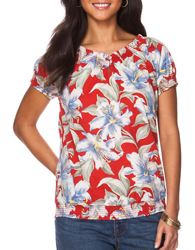 Chaps Petite Floral Peasant Top-RED MULTI-Petite X-Large