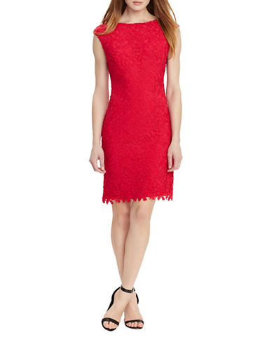 Lauren Ralph Lauren Crocheted Floral-Lace Sheath Dress-ROSE MELON-10