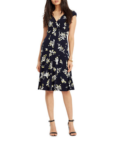 Lauren Ralph Lauren Jersey Surplice Floral Dress-NAVY-6 88148936_NAVY_6