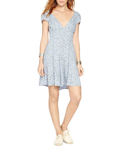 Denim & Supply Ralph Lauren Floral V-Neck Dress-BLUE-8
