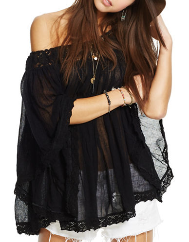 Denim & Supply Ralph Lauren Off-the-Shoulder Gauze Top-BLACK-Medium plus size,  plus size fashion plus size appare