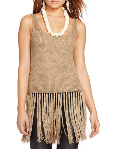 Polo Ralph Lauren Fringed Metallic Sweater Tank-GOLD-Large
