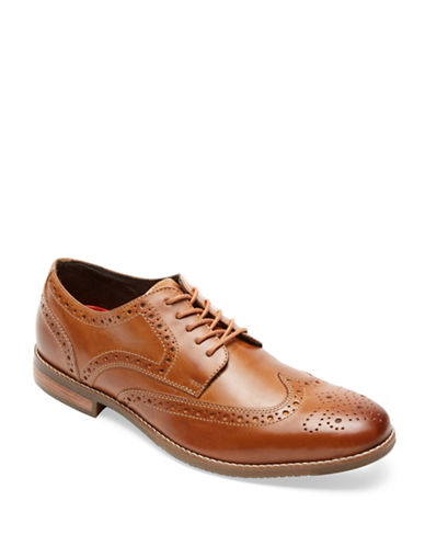 Rockport Style Purpose Leather Wing Tip Oxfords-TAN-9.5W