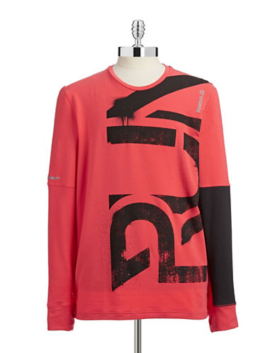 Reebok Stretchy Mid-Layer Running Top-RED-Small 87776471_RED_Small