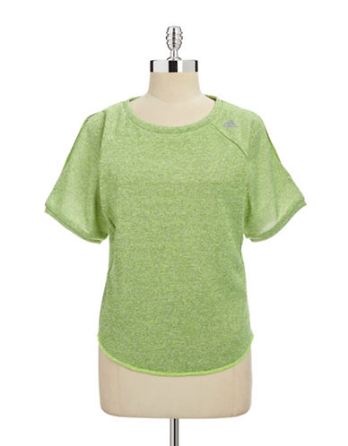 Adidas Climalite Cold-Shoulder Tee-NEON GREEN-Small 87888135_NEON GREEN_Small