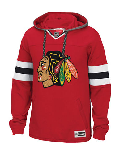 Reebok Chicago Blackhawks Team Jersey Hoodie-RED-Medium