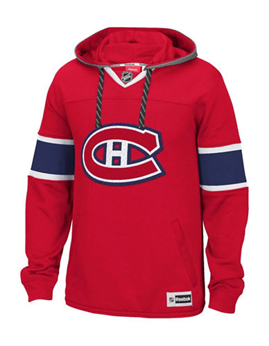 Reebok Montreal Canadiens Team Jersey Hoodie-CRIMSON-Small