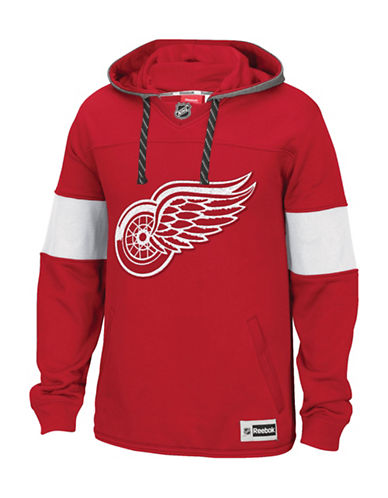 Reebok Detroit Red Wings Team Jersey Hoodie-RED-Small
