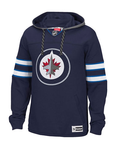 Reebok Winnipeg Jets Team Jersey Hoodie-TRUE NAVY-X-Large