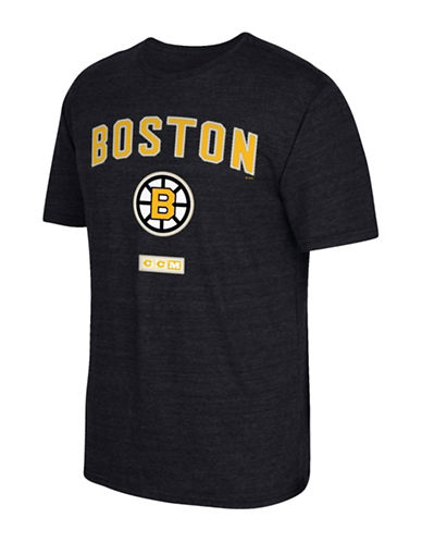 Reebok Boston Bruins Stitches Needed Tri-Blend T-Shirt-BLACK HEATHER-Medium