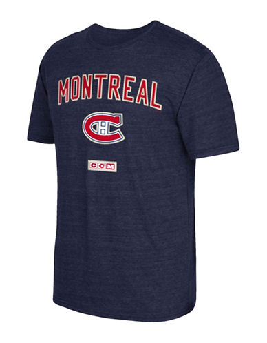 Reebok Montreal Canadiens Stitches Needed Tri-Blend T-Shirt-NAVY HEATHER-Small