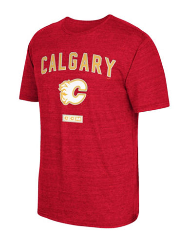 Reebok Calgary Flames Stitches Needed Tri-Blend T-Shirt-RED HEATHER-Small