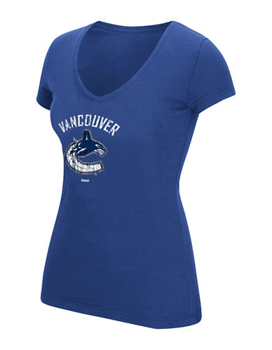 Reebok Vancouver Canucks Ladies Full Colour Primary V-Neck Tee-COLLEGIATE ROYAL-Large
