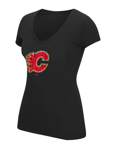 Reebok Calgary Flames V-Neck T-shirt-BLACK-Medium 88995049_BLACK_Medium