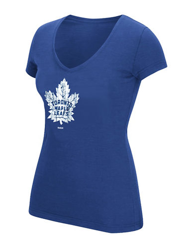 Reebok Toronto Maple Leafs Full Colour Primary V-Neck Tee-COLLEGIATE ROYAL-X-Large