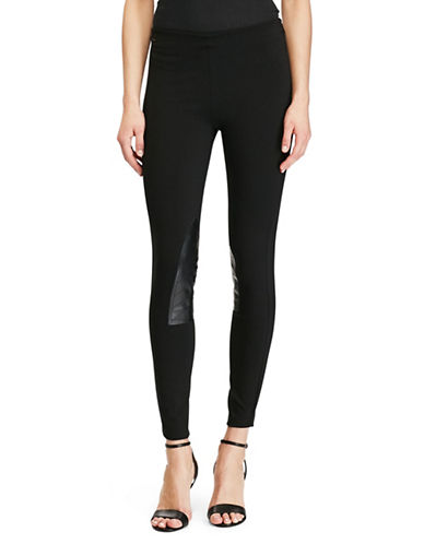 Polo Ralph Lauren Leather Patch Jodhpur Leggings-BLACK-X-Large 87059215_BLACK_X-Large