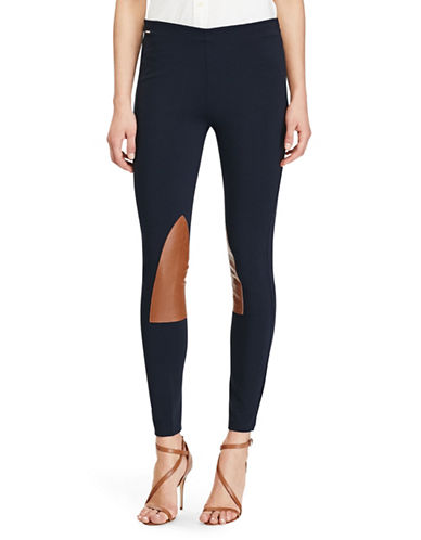 Polo Ralph Lauren Leather Patch Jodhpur Leggings-NAVY-Small 87059217_NAVY_Small