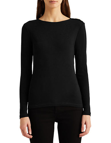 Lauren Ralph Lauren Buttoned Shoulder Top-BLACK-Medium