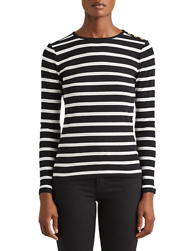 Lauren Ralph Lauren Buttoned Shoulder Striped Top-BLACK-X-Large