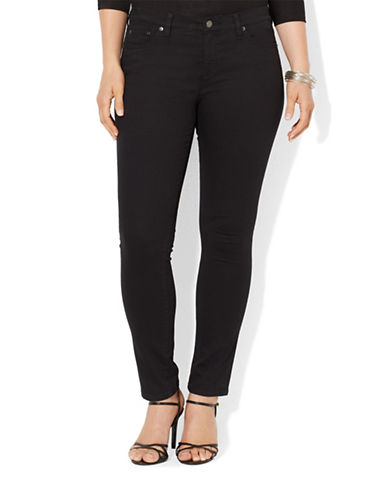 Lauren Ralph Lauren Plus Super Stretch Slimming Modern Skinny Jean-BLACK-18W