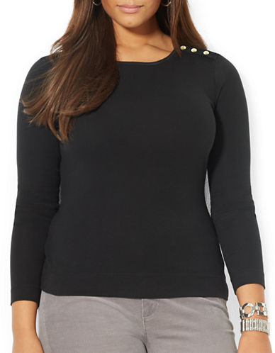Lauren Ralph Lauren Plus Buttoned Shoulder Top-BLACK-2X