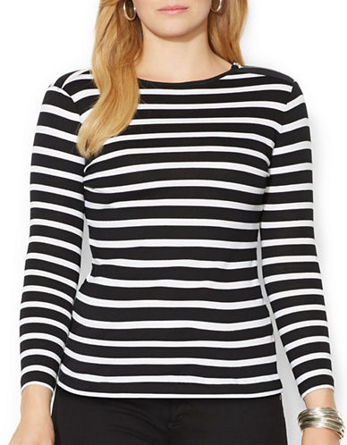 Lauren Ralph Lauren Plus Zip Shoulder Striped Top-BLACK-1X