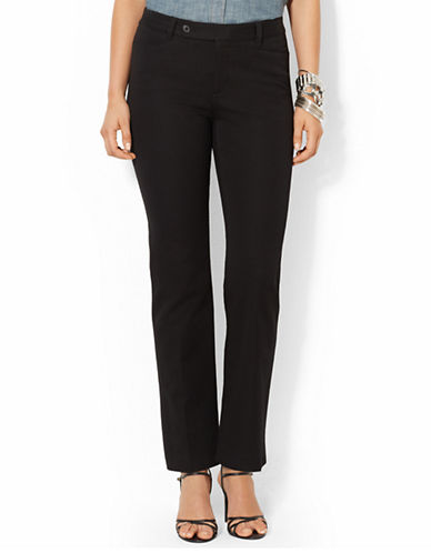 Lauren Ralph Lauren Stretch Twill Slimming Straight Pant-BLACK-6