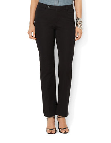 Lauren Ralph Lauren Stretch Twill Slimming Straight Pants-BLACK-16