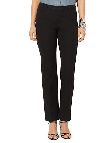 Lauren Ralph Lauren Petite Stretch Twill Slimming Straight Pant-BLACK-Petite 12