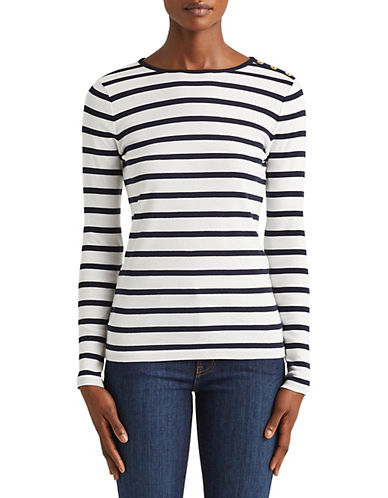 Lauren Ralph Lauren Buttoned Shoulder Striped Top-WHITE-X-Large