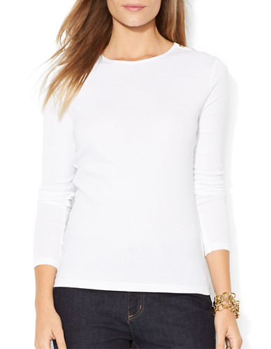 Lauren Ralph Lauren Buttoned Shoulder Top-WHITE-Small