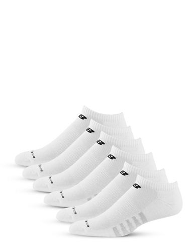New Balance 6 Pack Pair White Cotton No-Show Socks-WHITE-10-12