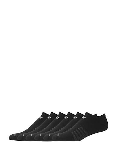 New Balance 6 Pack Pair White Cotton No-Show Socks-BLACK-10-12