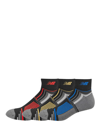 New Balance Patterned Performance Ankle Socks-BLACK-10-12
