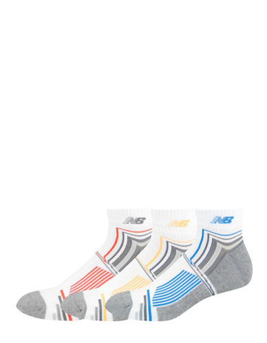 New Balance Patterned Performance Ankle Socks-WHITE-10-12