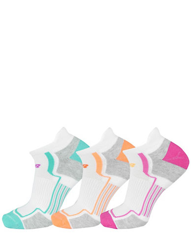 New Balance Performance Three-Pack Low Cut Tab Ped Socks Set-PINK ASSORTED-One Size