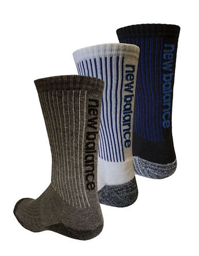 New Balance Three-Pack Performance Sport Socks-GREY MULTI-10-12