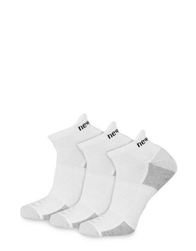 New Balance Six-Pack Perform Training Tab Sport Socks Set-WHITE-10-12