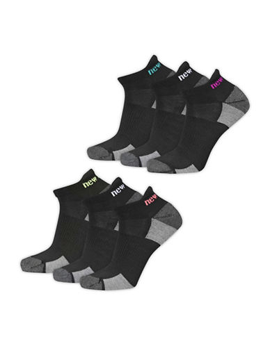New Balance Six Pack Performance Tab Socks Set-BLACK-One Size