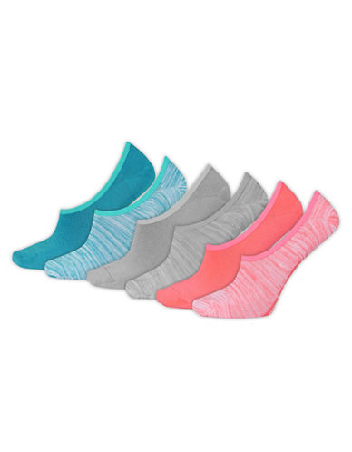 New Balance Lifestyle Six-Piece Ultra Low No Show Socks Set-ASSORTED-One Size