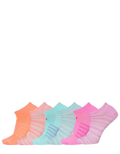 New Balance Six-Pack No Show Ped Socks Set-PINK ASSORTED-One Size