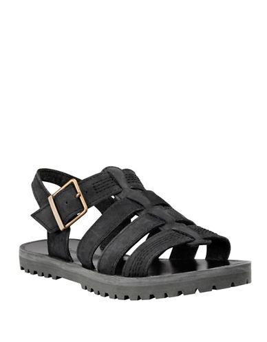 Timberland Leather Fisherman Sandals-BLACK-6.5