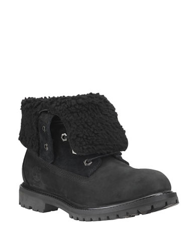 Timberland Authentics Teddy Fleece Waterproof Fold-Down Ankle Boots-BLACK-10